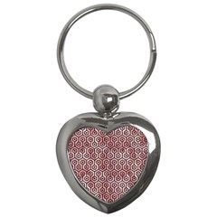 Hexagon1 Black Marble & Red & White Marble (r) Key Chain (heart) by trendistuff