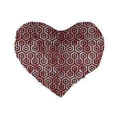 Hexagon1 Black Marble & Red & White Marble (r) Standard 16  Premium Flano Heart Shape Cushion  by trendistuff