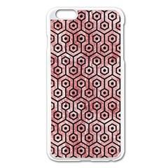 Hexagon1 Black Marble & Red & White Marble (r) Apple Iphone 6 Plus/6s Plus Enamel White Case