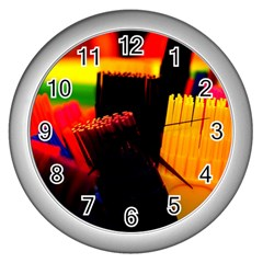 Plastic Brush Color Yellow Red Wall Clocks (silver)  by Amaryn4rt