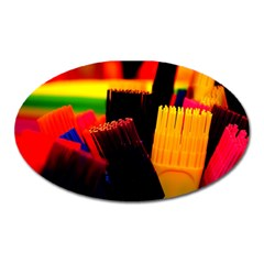 Plastic Brush Color Yellow Red Oval Magnet by Amaryn4rt
