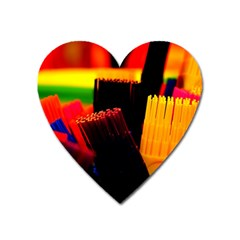 Plastic Brush Color Yellow Red Heart Magnet