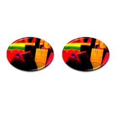 Plastic Brush Color Yellow Red Cufflinks (oval) by Amaryn4rt
