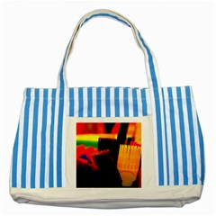 Plastic Brush Color Yellow Red Striped Blue Tote Bag by Amaryn4rt