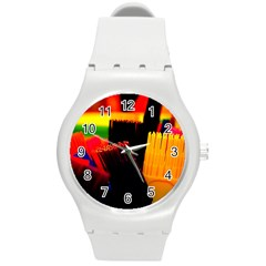 Plastic Brush Color Yellow Red Round Plastic Sport Watch (m) by Amaryn4rt