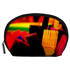Plastic Brush Color Yellow Red Accessory Pouches (large)  by Amaryn4rt