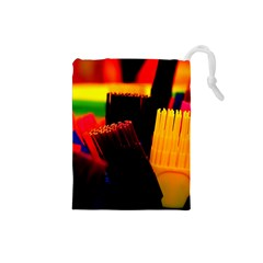 Plastic Brush Color Yellow Red Drawstring Pouches (small)  by Amaryn4rt