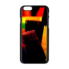 Plastic Brush Color Yellow Red Apple Iphone 6/6s Black Enamel Case by Amaryn4rt
