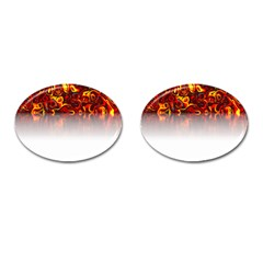 Effect Pattern Brush Red Cufflinks (oval) by Amaryn4rt