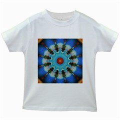 Pattern Blue Brown Background Kids White T Shirts