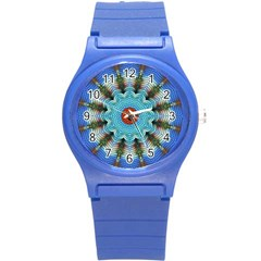 Pattern Blue Brown Background Round Plastic Sport Watch (s) by Amaryn4rt
