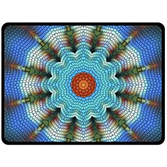 Pattern Blue Brown Background Double Sided Fleece Blanket (large)  by Amaryn4rt