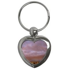 Rain Rainbow Pink Clouds Key Chains (heart)  by Amaryn4rt