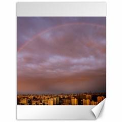 Rain Rainbow Pink Clouds Canvas 36  X 48   by Amaryn4rt