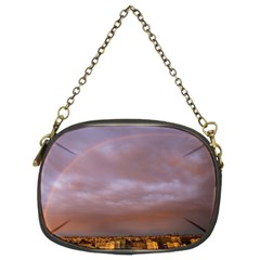 Rain Rainbow Pink Clouds Chain Purses (two Sides)