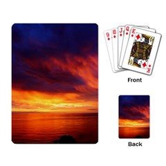Sunset The Pacific Ocean Evening Playing Card by Amaryn4rt