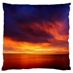 Sunset The Pacific Ocean Evening Large Flano Cushion Case (one Side) by Amaryn4rt