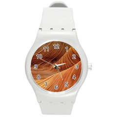 Sandstone The Wave Rock Nature Red Sand Round Plastic Sport Watch (m) by Amaryn4rt