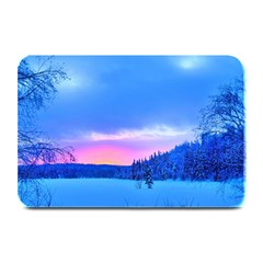 Winter Landscape Snow Forest Trees Plate Mats by Amaryn4rt