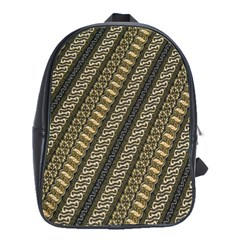 Batik Cap Parang Gendreh Kombinas School Bags(large)  by AnjaniArt