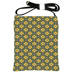 Arabesque Flower Yellow Shoulder Sling Bags by AnjaniArt