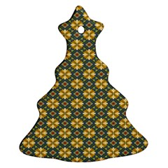 Arabesque Flower Yellow Christmas Tree Ornament (2 Sides) by AnjaniArt