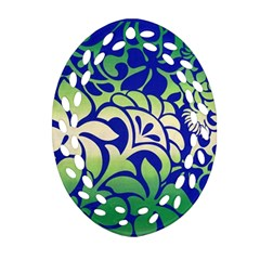 Batik Fabric Flower Oval Filigree Ornament (2-Side)  by AnjaniArt