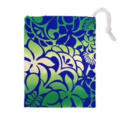 Batik Fabric Flower Drawstring Pouches (extra Large) by AnjaniArt