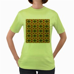 Arabesque Flower Women s Green T Shirt by AnjaniArt