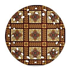 Batik Flower Brown Round Filigree Ornament (2side) by AnjaniArt