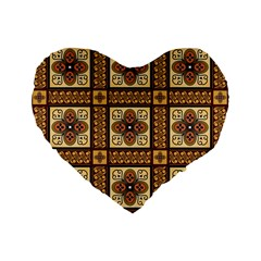 Batik Flower Brown Standard 16  Premium Flano Heart Shape Cushions by AnjaniArt