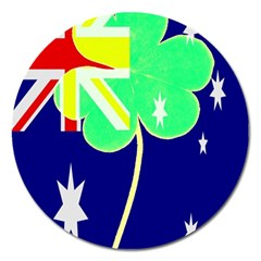 St  Patrick Australia And Ireland Irish Shamrock Australian Country Flag  Magnet 5  (round) by yoursparklingshop