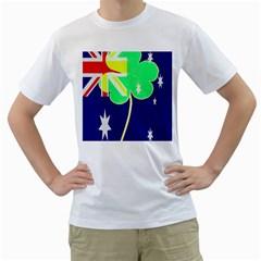 St  Patrick Australia And Ireland Irish Shamrock Australian Country Flag  Men s T Shirt (white)
