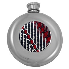 Batik Jogja Red Black Round Hip Flask (5 Oz) by AnjaniArt