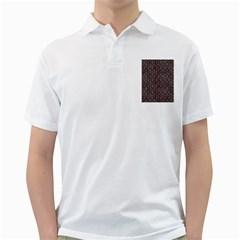 Hexagon1 Black Marble & Red & White Marble Golf Shirt