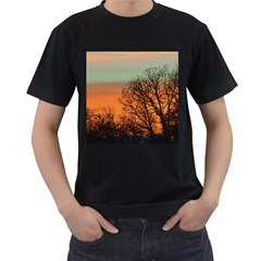Twilight Sunset Sky Evening Clouds Men s T Shirt (black) (two Sided) by Amaryn4rt