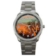 Twilight Sunset Sky Evening Clouds Sport Metal Watch by Amaryn4rt