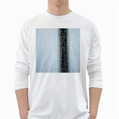 Rain Raindrop Drop Of Water Drip White Long Sleeve T Shirts by Amaryn4rt