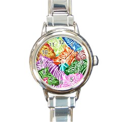 Zebra Colorful Abstract Collage Round Italian Charm Watch