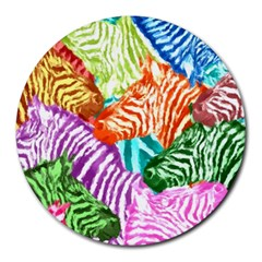 Zebra Colorful Abstract Collage Round Mousepads by Amaryn4rt