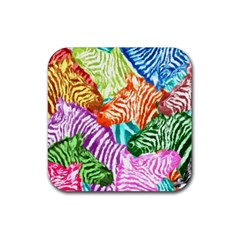 Zebra Colorful Abstract Collage Rubber Coaster (square)  by Amaryn4rt