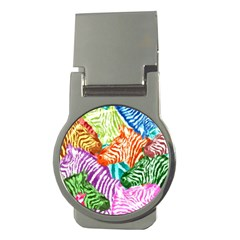 Zebra Colorful Abstract Collage Money Clips (round)  by Amaryn4rt