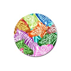 Zebra Colorful Abstract Collage Magnet 3  (round) by Amaryn4rt