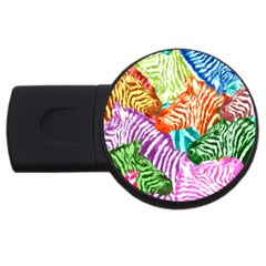 Zebra Colorful Abstract Collage Usb Flash Drive Round (4 Gb)  by Amaryn4rt