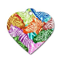 Zebra Colorful Abstract Collage Dog Tag Heart (one Side) by Amaryn4rt
