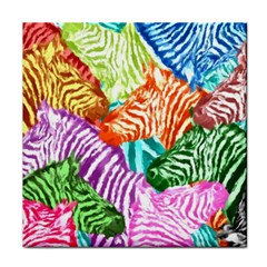 Zebra Colorful Abstract Collage Face Towel by Amaryn4rt