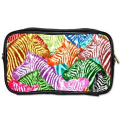 Zebra Colorful Abstract Collage Toiletries Bags 2 Side by Amaryn4rt