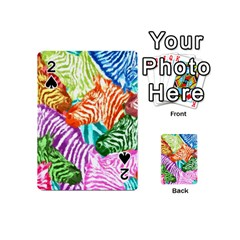 Zebra Colorful Abstract Collage Playing Cards 54 (mini)  by Amaryn4rt