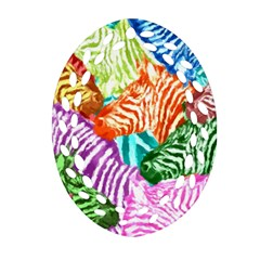 Zebra Colorful Abstract Collage Oval Filigree Ornament (2 Side)  by Amaryn4rt