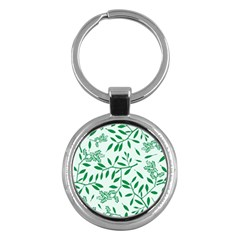 Leaves Foliage Green Wallpaper Key Chains (round)  by Amaryn4rt